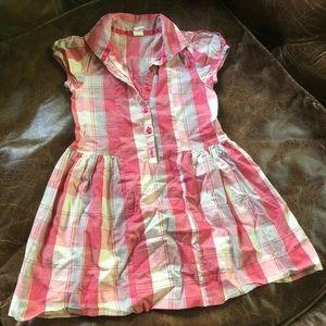 Oshkosh Plaid cotton button down girls dress peach